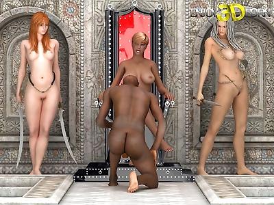 Black guy fucks three..